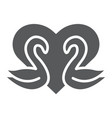 swans glyph icon romance and love swans and vector image vector image