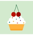 Teal birthday cupcake with butter cream vector image vector image