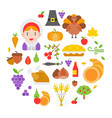 thanksgiving icon arrange as circle shape for use vector image vector image