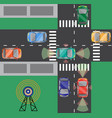 top view crossroads with driverless car vector image