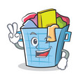 two finger laundry basket character cartoon vector image vector image