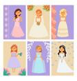 wedding brides characters card vector image vector image