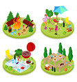 isometric bbq picnic party summer holiday camp vector image