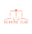Child sitting and read book reading club logo vector image