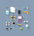 Flat design objects on work desk cup smart phone vector image