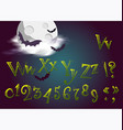 halloween letters in cartoon movie style funny vector image