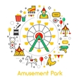 Amusement Park Line Art Thin Icons Set vector image