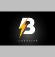 b letter logo design with lighting thunder bolt vector image