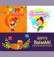 baisakhi festival harvest banner set cartoon style vector image vector image