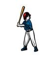 baseball kids player ready hit ball color vector image vector image