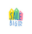 big sale 20 30 percent off logo template special vector image vector image