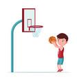 boy basketball player throws ball in basket vector image vector image