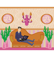 boy with a laptop lies on the sofa vector image