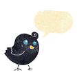 cartoon bird with speech bubble vector image vector image