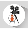 cartoon man icon camera cinema graphic vector image