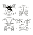 cartoon pirate tattoo design vector image vector image