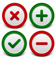 checkmark cross plus minus signs symbols vector image
