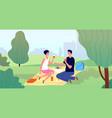 couple on picnic spring picnics garden or city vector image
