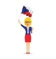 czech republic flag waving woman vector image vector image