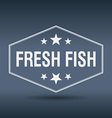 fresh fish hexagonal white vintage retro style vector image vector image