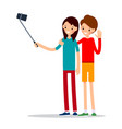 girl with mobile phone - woman do selfie vector image vector image