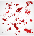 grunge red ink splatter texture set vector image