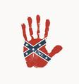 handprint in colors confederate rebel flag vector image vector image