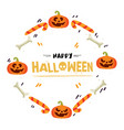 happy halloween pumpkin candy bone frame im vector image