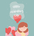happy valentines day cute girl with balloons vector image vector image