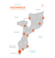 mozambique map with administrative divisions vector image