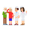 nurse and patient elderly people man and woman vector image