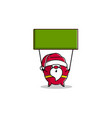 outline cartoon santa claus hold flag for vector image