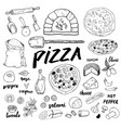 pizza menu hand drawn sketch set pizza vector image vector image