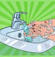 Pop art woman washing hands hygiene skincare