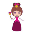 queen with crown and scepter in dress with purple vector image vector image