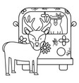 reindeer and bear in hippie van bohemian style vector image