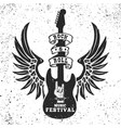 rock and roll festival poster template winged vector image vector image