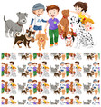 seamless background design with children and dogs vector image