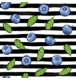 seamless pattern blueberry with leaves contour on vector image vector image