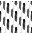 seamless pattern with black watercolor feathers vector image