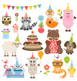 set different animals on birthday party vector image vector image