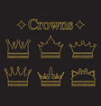 set of crowns in doodle style gold glitter vector image