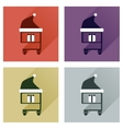 Set of flat icons with long shadow cart Christmas vector image vector image