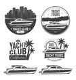 set yacht logos vector image