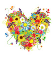 Summer floral heart for your design vector image vector image