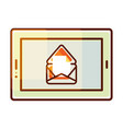 tablet pc icon with e-mail message vector image vector image