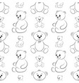 teddy bears contours seamless vector image