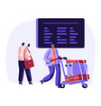 traveler with baggage watch flights schedule vector image
