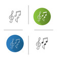 treble clef and musical notes icon vector image