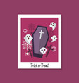 trick or treat with ghost and coffin vector image vector image